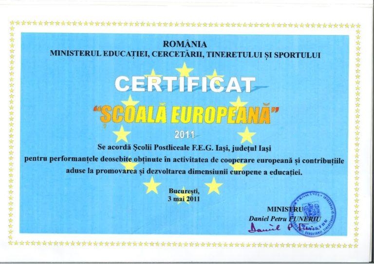 Scoala Postliceala FEG diplome europeana